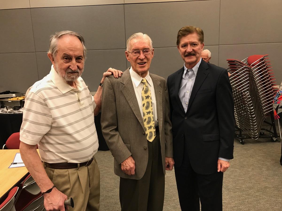Troy Wade, Johnny Foster, and John Longenecker celebrating Foster's 95th birthday in Las Vegas